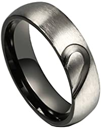 Mens Womens Classic Hearts Couples Rings for His or Hers 6MM 316L Stainless Steel Forever Love Promise Band Rings