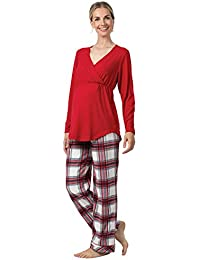 Fleece Maternity Pajamas for Women, Red Plaid