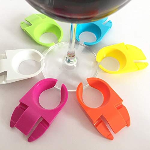 Casavidas Set of 4 Plastic ABS Wine Glass Stemware Plate Clips For Holding Stemmed Glasses(4 Random colors)