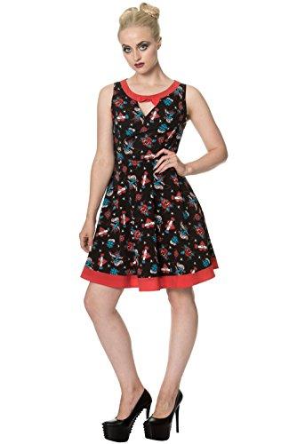5212 DRESS BOW Banned REGRET Schwarz Kleid NOTHING w0R6BqX6