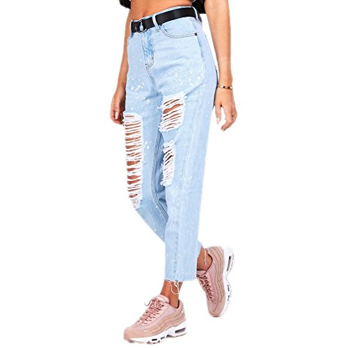 Medium Bleu P Fit Bleach I R 12 Mom Flicker Pantalon Taille Jeans C Siksilk Light M Tq1fR