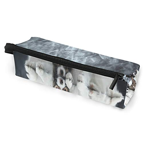 (Glasses Case Continental Toy Spaniel Grey Background Multi-Function Zippered Pencil Box Makeup Cosmetic Bag for Women)