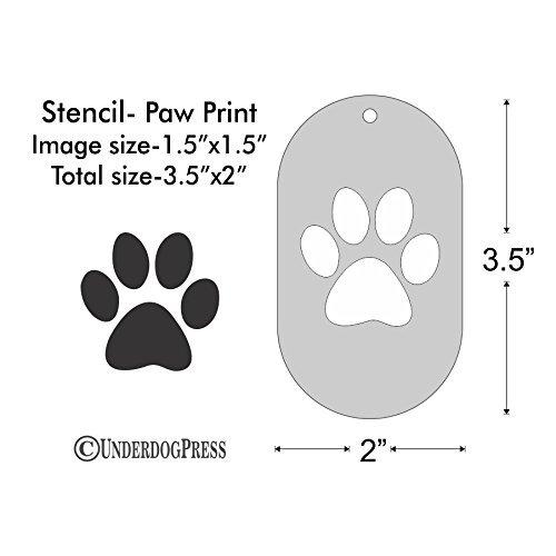 (Stencil - Paw Print, Image Size 1.5x1.5 on 3.5x2 Border )