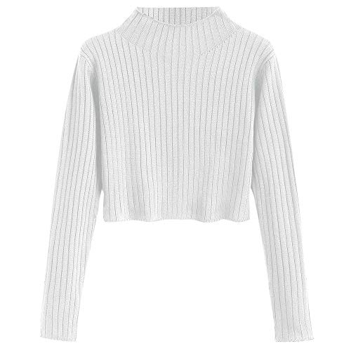ZAFUL Women's Mock Neck Long Sleeve Ribbed Knit Pullover Crop Sweater (White, ()