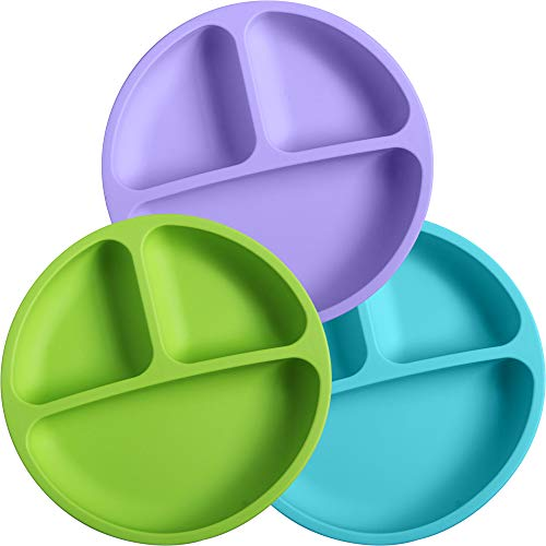 WeeSprout Silicone Divided Toddler Plates - 3 Pack - Easy to Clean - Dishwasher and Microwave Safe - Soft, Skid Resistant and Unbreakable - FDA/LFGB Certified Silicone (Green, Blue & Purple)