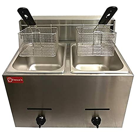 Bhavya Enterprises Stainless Steel Double DEEP Fat Fryer (8+8 L, 6 Oz, Silver)