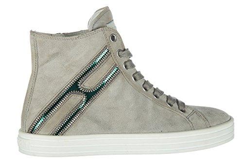... Hogan Rebel scarpe sneakers alte donna in camoscio nuove r141 beige ... 8212c645976