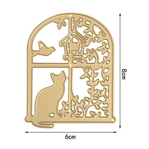 YDZN Window Cat Cutting Dies Stencils DIY Scrapbook Album Embossing Card Paper Craft by YDZN (Image #3)