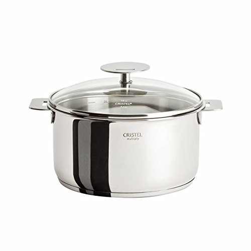 Cristel Multiply Stainless Steel 2 Quart Saucepan with Glass Lid