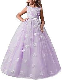 29790d2da04b Girls Pageant Princess Flower Dress Kids Prom Puffy Ball Gowns