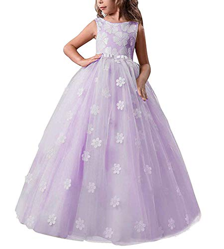 t Princess Flower Dress Kids Prom Puffy Tulle Ball Gowns Size 6-7 Years Purple ()