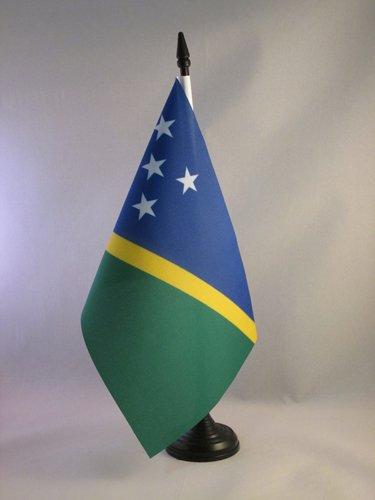 - AZ FLAG Solomon Table Flag 5'' x 8'' - Solomon Islander Desk Flag 21 x 14 cm - Black Plastic Stick and Base
