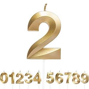 URAQT Bougies Numéro 2, Bougies D'anniversaire Numéro, Bougie Numéro Paillettes D'or, Convient Pour Les Anniversaires…