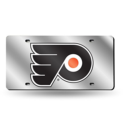 Rico Industries NHL Philadelphia Flyers Laser Inlaid Metal License Plate Tag, Silver