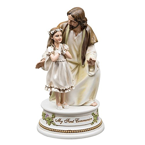 Roman My First Communion Young Girl with Jesus 7 Inch Resin Stone Musical Figurine Plays The Lord's Prayer - Girl 1st Communion Figurine
