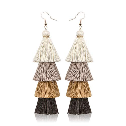 PSEEHEE Colorful Layered Tassel Earrings Bohemian Dangle Drop Earrings for Women Girls Earrings Gifts (Brown)