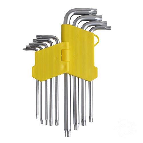 (Gunpla 9 Pieces Long Arm Security Torx Hex Key Wrench Set T10, T15, T20, T25, T27, T30, T40, T45, T50)