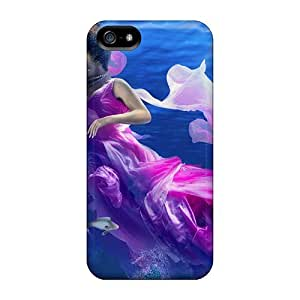 Hot Design Premium Case Cover Iphone 5/5s Protection Case(beautiful Girl In The Sea)