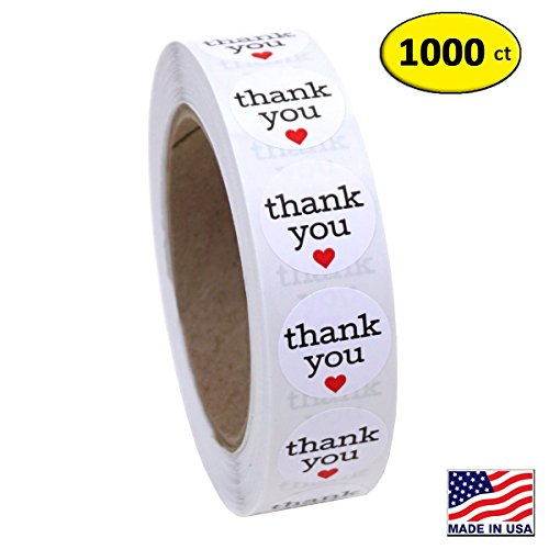 Red Heart Labels (1 Inch Round Thank You Sticker Labels with Red Hearts, 1000 Stickers per Roll)