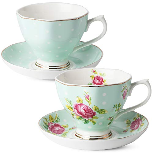 BTäT- Floral Tea Cups and Saucers, Set of 2 (Green - 8 oz) with Gold Trim and Gift Box, Coffee Cups, Floral Tea Cup Set, British Tea Cups, Porcelain Tea Set, Tea Sets for Women, Latte Cups ()