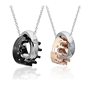Blowin Men's Womens Stainelss Steel Queen King Crown Ring Pendant Necklace Valentine