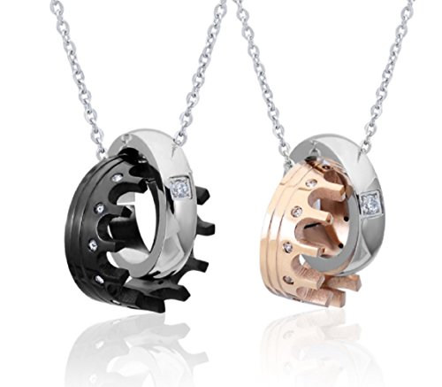 - Blowin 2PCS Couple's Stainelss Steel Queen King Crown Pendant Necklaces Set for Men Women, Valentine