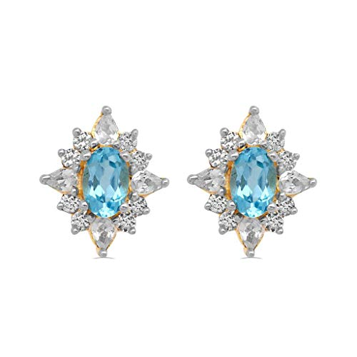 Jewelili 14kt Yellow Gold Plated Sterling Silver 6x4mm Oval Swiss Blue Topaz alongwith 3x2mm Pear and 1.75mm Round Created White Sapphire Blooming Earrings ()