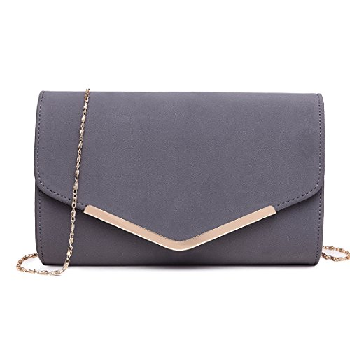 Miss Lulu Women Clutches Pu Evening Party Wedding Light Golden Metal Chain Bag Envelope Purse Cluth Bags 1756 Grey