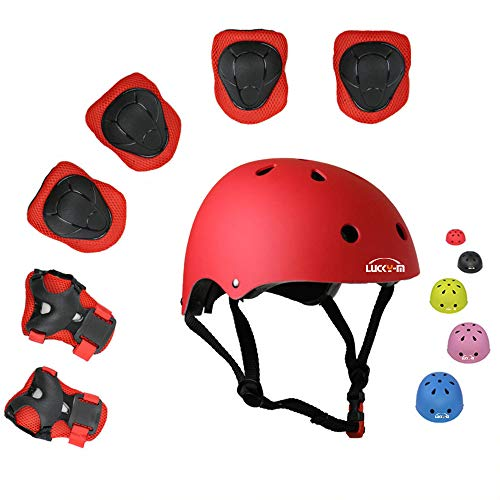 Lucky-M Kids Outdoor Sports Protective Gear,Boys and Girls Safety Pads Set [Helmet,Knee&Elbow Pads and Wrist Guards] for Roller, Scooter, Skateboard, Bicycle(3-8 Years Old) (Red)