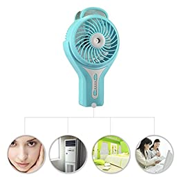 Momoday Brushless Handheld Portable Mini Misting USB Fan Cooling Humidifier Rechargeable Water Spray Fan (Green)