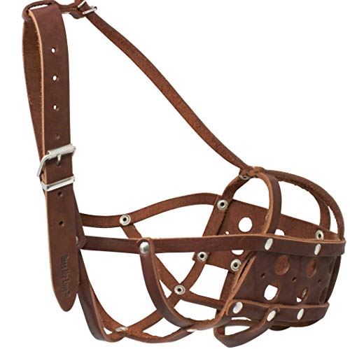 Snout 4.5 - Secure Real Leather Dog Mesh Basket Muzzle Brown (Circum. 16.5