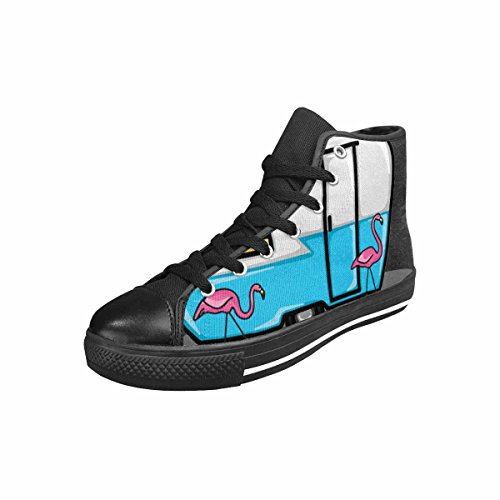 Qchengshix Women's Low Top Classic Canvas Fashion Sneaker Basketball Tennis Athletic ShoesRetro Blue Flamingo Campers