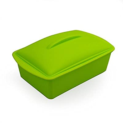 Mirenlife Nonstick Thicken Silicone Baking Pan with Cover, Silicone Loaf Pan, Covered Cake Pan, Deep Dish Casserole Pan, Square Steam Cooker