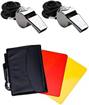 Friencity Sports Referee Card Set Red Yellow Card and 2 Pieces Coach Referee Metal Whistles with Lanyard Bulk