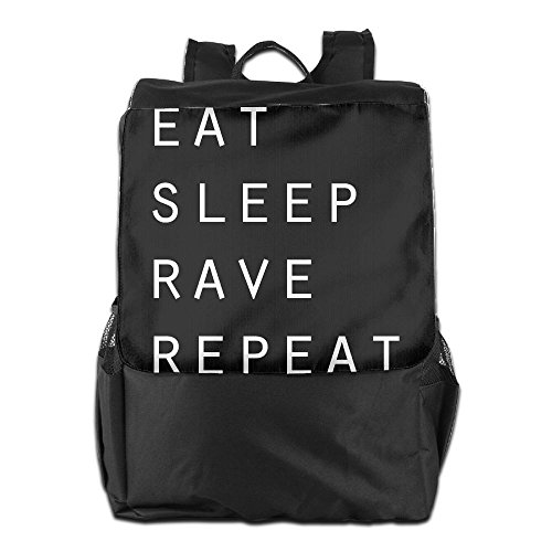 Convenient Outdoor Men And Women Travel Backpack Eat Sleep Rave Repeat Painting The Picture On The Backpack