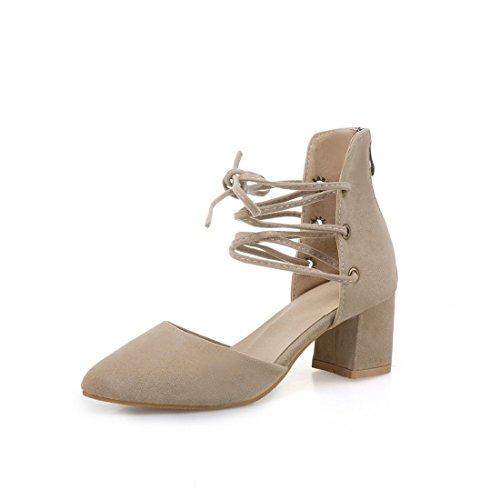 sandali heeled sandali 35 moda signore i appuntito high beige sandali grandi sandali dei dimensioni 5wnAqva
