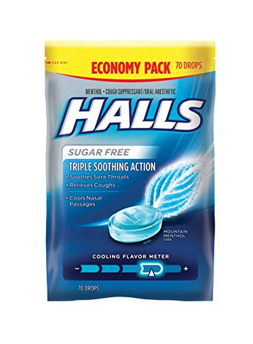 Halls Mountain Menthol Sugar Free Cough Drops - Bulk Pack - 840 Drops (12 packs of 70 drops) - Halls Cough Suppressant