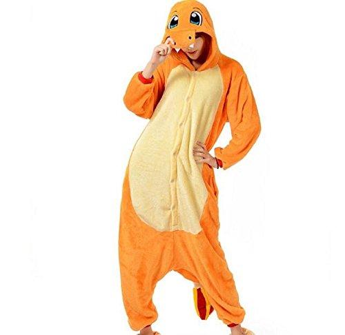 [TyGRRwear Pokemon Charmander Fleece Onesie Cosplay Pajamas Costume (L: 5' 6
