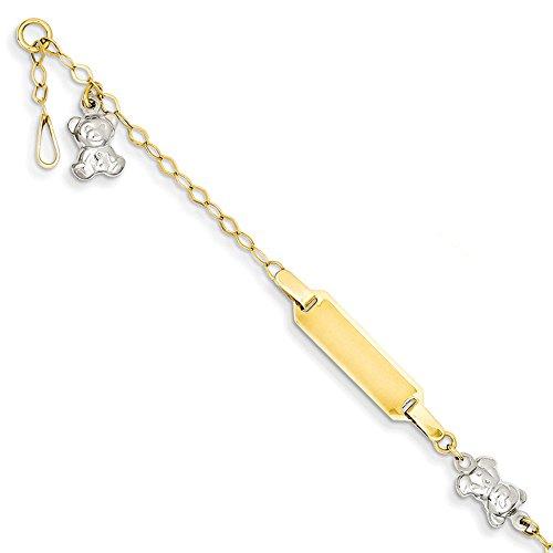 14K Two-tone Gold Polished Teddy Bear ID Baby Bracelet by Jewelry Pilot