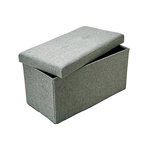 Kennedy Home Collection 30-Inch Jute Linen Look Folding Storage Ottoman, Grey