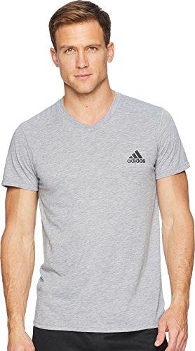 adidas Mens Training Ultimate Short Sleeve V-Neck Tee, Medium Grey Heather, Large