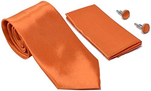Kingsquare Solid Color Men's Tie, Pocket Square, and Cufflinks matching set (Orange)