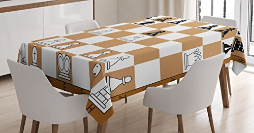 Ambesonne Board Game Tablecloth, Opening Position on Chessboard Letters Numbers Squares Pieces Print, Dining Room Kitchen Rectangular Table Cover, 52