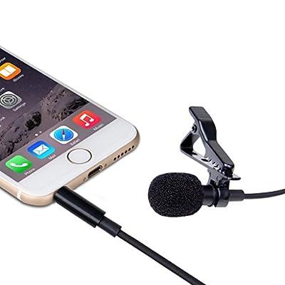LANMU Lavalier Lapel Microphone,Lavalier Microphone,Omnidirectional Condenser Microphone for iPhone6/6Plus/6sPlus,iPad iPod Samsung All Smartphones (4.9 Feet /3.5mm TRRS Jack)