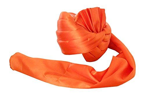 Traditional Handmade Men Hat Orange Satin Pagri Wedding Turban Safa Kcit208 Saf Satin