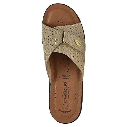 Carrie Women's Beige Comfort Python Cushion Flexus Slide Sandals ZT5qUU