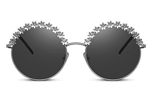 a Cheapass de redondas de marrón 400 XXL sol de Power mujer gran de redondas dorado Festival accesorio UV granel de Flower chicas Gafas metal gafas diseño Plateado tamaño damas color Iq7rtxqwU