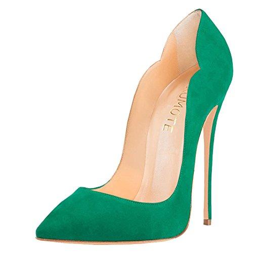 Faux mujer Green Suede Con punta MERUMOTE qzfvaa