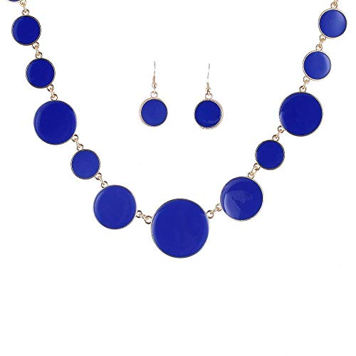 Greentail 1Set Multicolor Circles Shape Jewelry Sets for Women Decoration Enamel Necklace Earrings Costume Jewelry Sets Summer Jewelry (Blue)