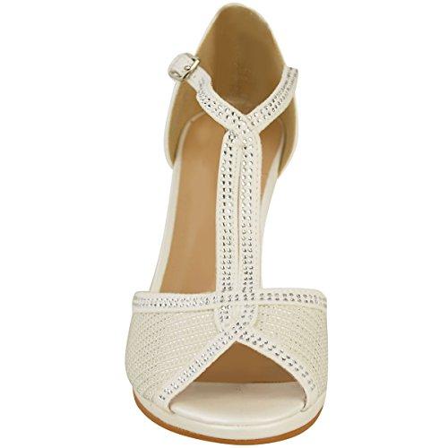 Moda Sete Delle Donne Scarpe Da Sposa Prom Mid Tacco Diamante Sandali Taglia Avorio Bianco Ecopelle